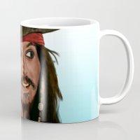 jack sparrow Mugs featuring Jack Sparrow by San Fernandez