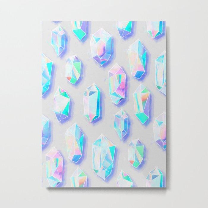 Iridescent Rainbow Crystals Metal Print