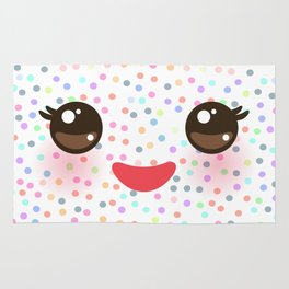 Kawaii funny muzzle with pink cheeks and eyes on white polka dot background Rug
