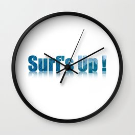 Surfs Up Text Art Filled with a Wave Wall Clock