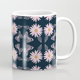 Daisies and Butterflies Pattern Coffee Mug