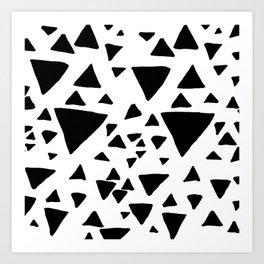 Black white hand painted geometric triangles Art Print