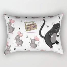 Just Dance-Cat and Mice Pattern Rectangular Pillow