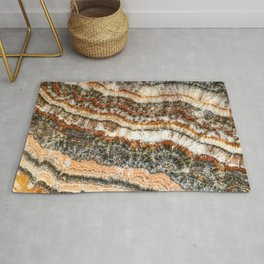 Agate Crystal II // Red Gray Black Yellow Orange Marbled Diamond Luxury Gemstone Rug
