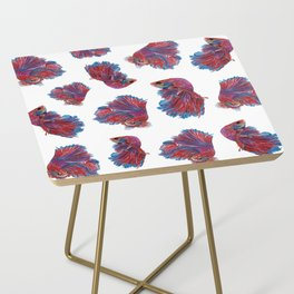 Ocean Theme- Red Blue Betta Fish Side Table