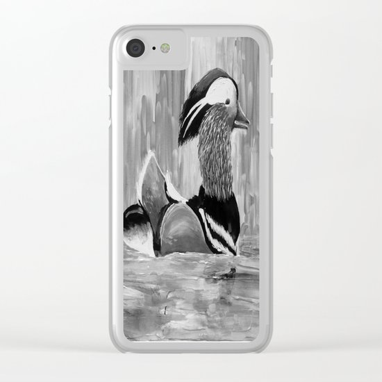 Mandarin Duck at Night Enjoying the Reflection on the Water Clear iPhone Case