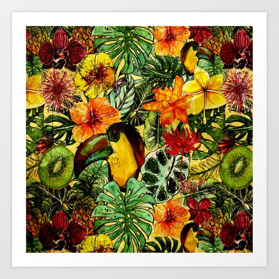 Tropical Vintage Exotic Jungle Flower Flowers - Floral watercolor pattern on #Society6 Art Print