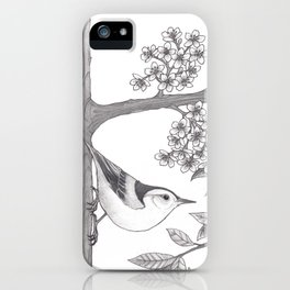Nuthatch on an Almond Tree iPhone Case