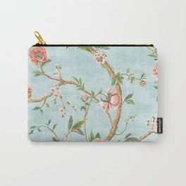 Rose bushes have thorns -Roses Flowers Floral Vintage Retro on Aqua Carry-All Pouch