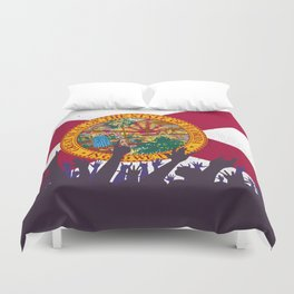 Florida State Flag with Audience Duvet Cover