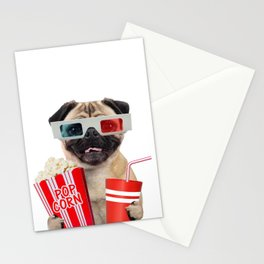 Pug watching a movie Stationery Cards
