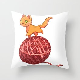 Kitten On Yan Throw Pillow