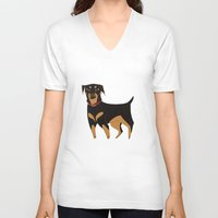 rottweiler V-neck T-shirts featuring Rottweiler by Reimena Ashel Yee