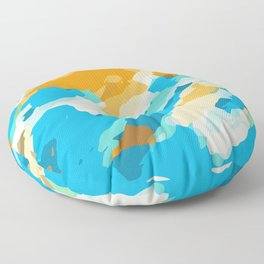 blue orange and brown dirty painting abstract background Floor Pillow