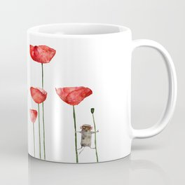 Little mouse loves big poppies  Coffee Mug