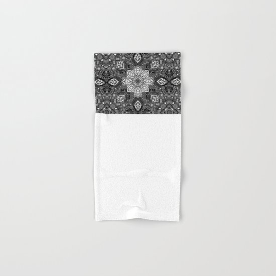Gypsy Lace in White on Black Hand & Bath Towel