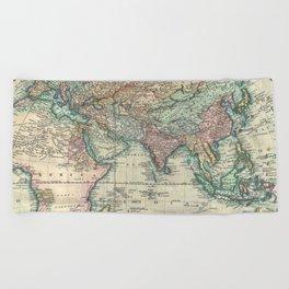 Vintage Map of The Eastern Hemisphere (1801) Beach Towel