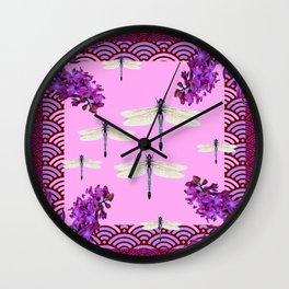 SPRING DRAGONFLIES PURPLE-PINK FLOWERS GARDEN ART Wall Clock
