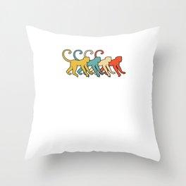 Vintage Retro Pop Art Monkey Primate Gift Idea Throw Pillow