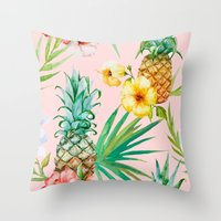 hawaii Throw Pillows featuring Hawaii by 83 Oranges™