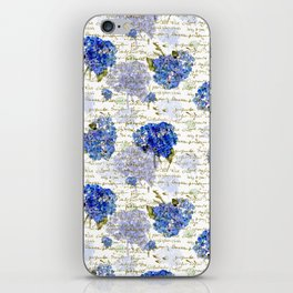 Cape Cod Hydrangeas & Gold French Script iPhone Skin