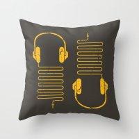 deadmau5 Throw Pillows featuring Gold Headphones by Sitchko Igor