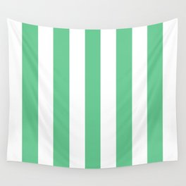 Asda Green (1999) - solid color - white vertical lines pattern Wall Tapestry