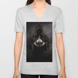 Skull on fire Unisex V-Neck