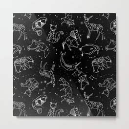 Origami Constellations - geometric animals constellations design - black Metal Print