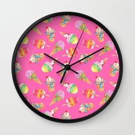 frozen delights in hot pink Wall Clock