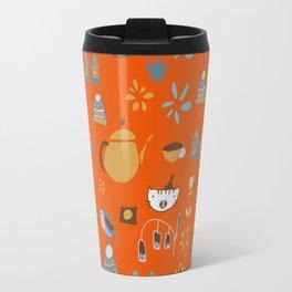 hygge cat and bird orange Travel Mug