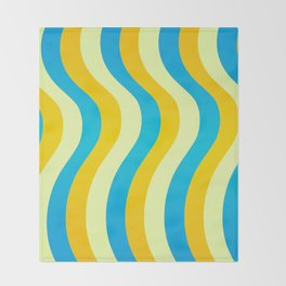 Blue and Gold Waves Throw Blanket