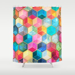 Crystal Bohemian Honeycomb Cubes - colorful hexagon pattern Shower Curtain