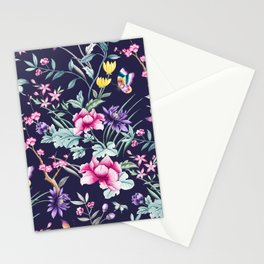 Navy Blue Chinoiserie Asian Floral Print Stationery Cards