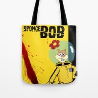 spongebob Tote Bags featuring Kill Spongebob by thunderbloke!