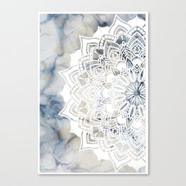 White cut-out mandala on marble Canvas Print