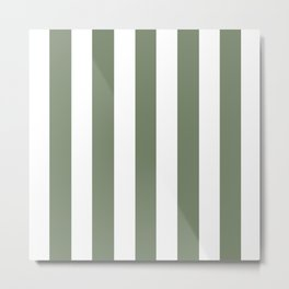 Camouflage green - solid color - white vertical lines pattern Metal Print