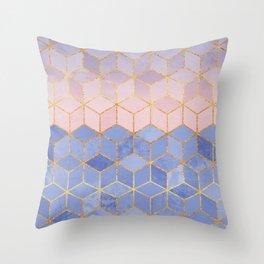 Rose Quartz & Serenity Cubes Throw Pillow
