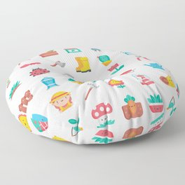 CUTE GARDENING PATTERN Floor Pillow