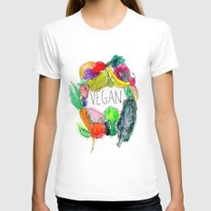 Vegan  MEDIUM White Womens Fitted Tee