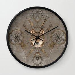 Wolf Sacred Geometry Digital Art Wall Clock