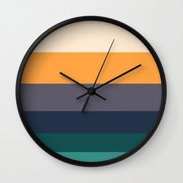 Mid Century Modern Minimalist Color Block Pattern Yellow Grey Green Wall Clock