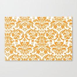 Elegant Damask Pattern (orange) Canvas Print