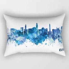 Bari Italy Skyline Blue Rectangular Pillow