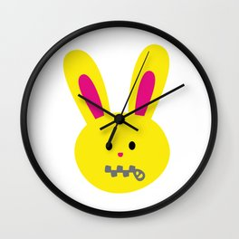 One Tooth Rabbit Emoticons Zipper Mouth Bunny Face Wall Clock