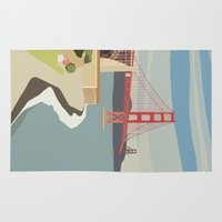 san francisco Area & Throw Rugs featuring San Francisco by uzualsunday