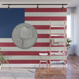 In Pug We Trust - Coin on USA flag Wall Mural