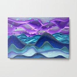 Blue sea purple sky glowing Metal Print