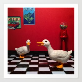 The Rest Stop Ducks & The Gumball Machine Art Print