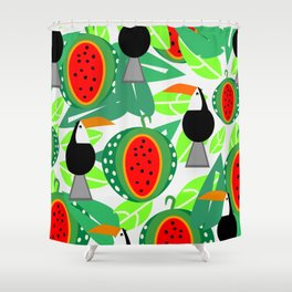 Toucans and watermelons Shower Curtain